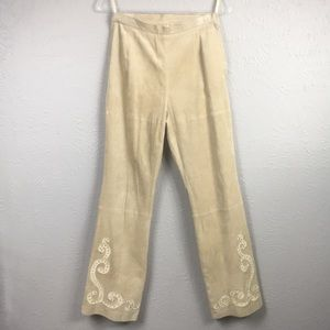 Pamela McCoy Tan Suede Leather Pants Size Small